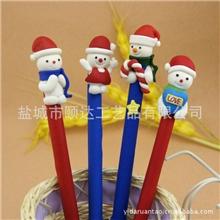 热销推荐圣诞雪人软陶笔圣诞节礼品软陶圆珠笔礼品文具批发