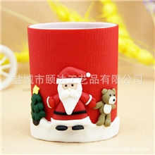 厂家批发创意软陶笔筒圣诞老人笔筒多功能笔筒