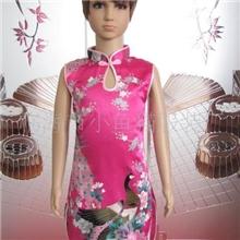 供应仿真丝圆孔旗袍(玫孔)B602