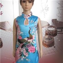 供应仿真丝圆孔旗袍(蓝孔)B602