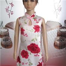 供应仿真丝圆孔旗袍(牡丹)货号:B602