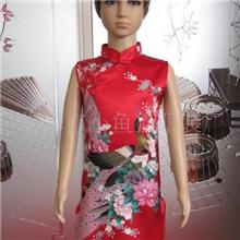 供应仿真丝儿童唐装旗袍斜禁旗袍(红孔)F614